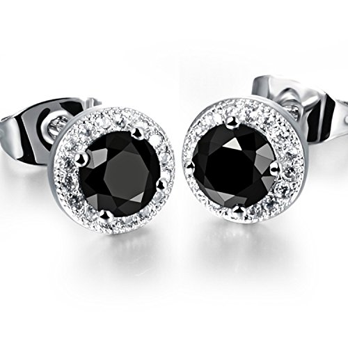 Dog Brother 18k Silver Plated Cubic Zirconia Halo Black Round Diamond Stud Earrings 8mm