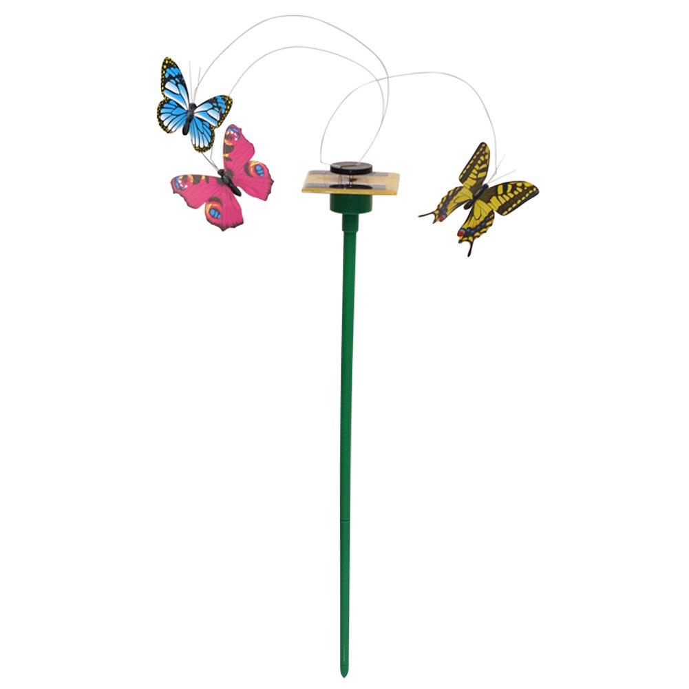 Loriver 3pcs Fluttering Solar Powered Butterfly + Ground Sticks Home Garden Decoration