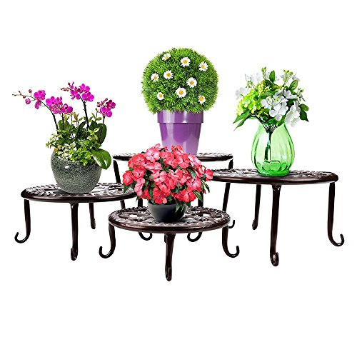 Plants Stand Flowerpot Holder Metal/Iron Art Plant Stands Pot Holder, AISHN Flower Pot Supporting Indoor Outdoor Garden, Pack of 4pcs with different size (Bronze2) (Wrought Iron Outdoor Table)