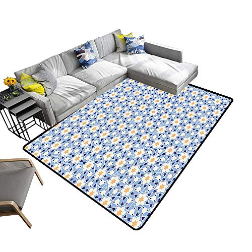 alsohome Contemporary Synthetic Rug Daisies Daffodils Triangles Hexagons Mosaic Patchwork Style White Apricot Dark Blue Stain Resistant & Easy to Clean 2' X 4'