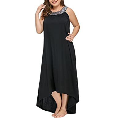 78a883a58aa Jaysis Damen Kleid Übergröße Ärmellos Perlen Kragen Solide Party Kleid XL-5XL  Sommerkleid Partykleid  Amazon.de  Bekleidung