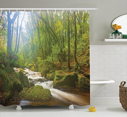 Ambesonne Woodland Decor Shower Curtain Set, Forest Scene at Golitha Falls Nature Reserve On The River Fowey, Cornwall, England, Bathroom Accessories, 69W X 70L (Woodland Scene)