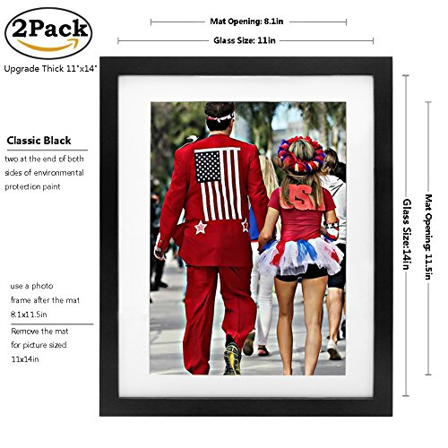 Picture Frame 2pack 11x14 inch Black,Anti-Corrosion Wood Photo Frame 4-side Painted with Modelling Effect Mat,Table Top & Wall Mounting Available - Hanging Hardware Included