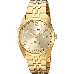 Pulsar Watches Men's Quartz Stainless Steel Dress, Color:Gold-Toned (Model: PV3010)
