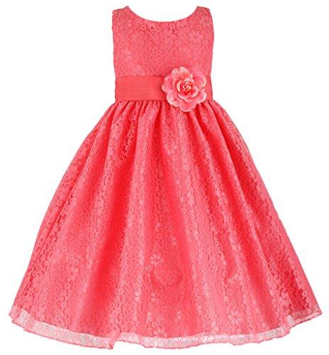 Length Taffeta Wedding Dresses (Wonder Girl Diana Big Girls' Lace Flowered Taffeta Sash Calf Length Dress 10 Coral)
