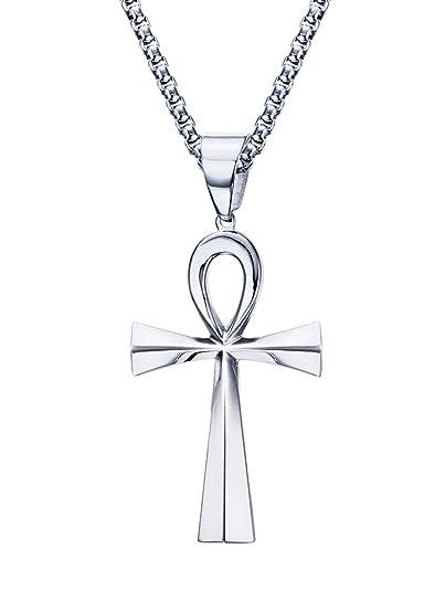 0ff07d1f2230 Vnox Colgante egipcio de la cruz de Ankh del acero inoxidable fornido de  los hombres con la cadena de Rolo de los 60cm