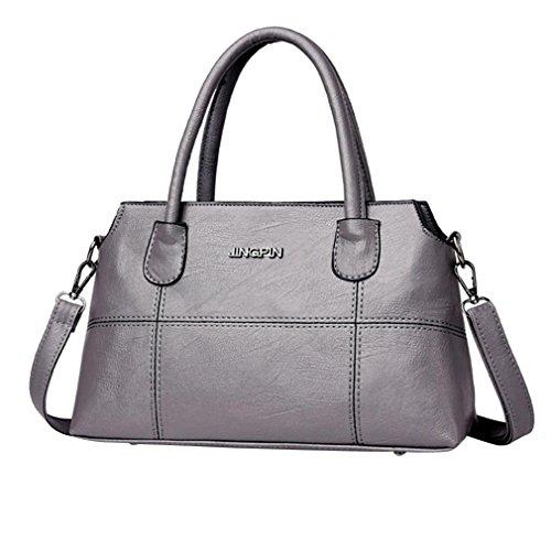 YJYDADA Fashion Women Leather Splice Handbag Shoulder Bag Crossbody Bag Tote Bag (Gray)