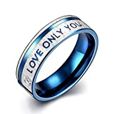 Blue Love Only You Engagement Ring For Women Men Couple Wedding Jewelry(7)