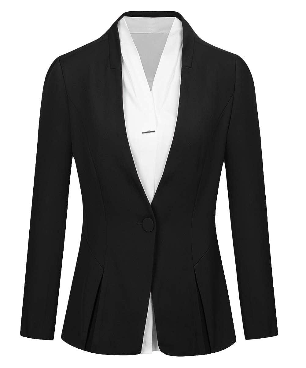 Blackmi35sp CMDC Women's 2 PC Business Casual Shawl Collar Formal Blazer Suit Pants Sets MI35
