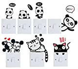 removable laptop decals - Efivs Arts 7 Pcs Cute Animals Removable Creative Light Switch Decals Bedroom Wall Laptop Stickers,Black