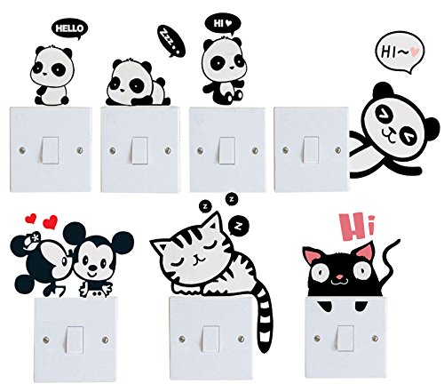 Efivs Arts 7 Pcs Cute Animals Removable Creative Light Switch Decals Bedroom Wall Laptop Stickers,Black (Pc Decal compare prices)