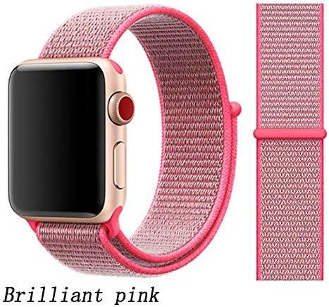 JWJY ユニバーサル・ウォッチバンド44ミリメートル40ミリメートル42ミリメートル38ミリメートルのナイロンブレスレット時計バンド44/42 (Band Color : Brilliant pink, Band Width : 38mm or 40mm)