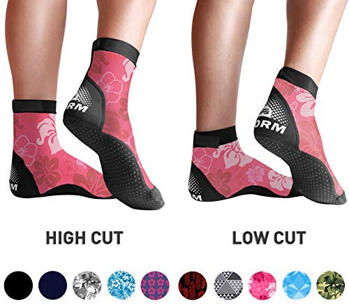 BPS 'Storm' Lycra Sports Socks - Sand Skins for Outdoor Volleyball, Surfing, Dive Boots, Canoeing, Snorkeling, Beach Soccer - for Men and Women - High Cut Socks (Pink Floral, S)