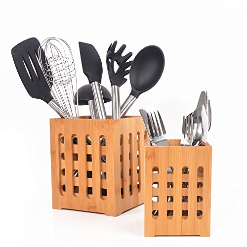 SZUAH Bamboo Utensil Holder + Flatware Holder, Large Capacity Utensil Cutlery Caddy Organizer with Drainer Holes & Lattice, 2 Pack (6.6x5.5, 5.48x4) by SZUAH (Image #3)
