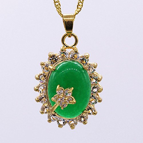 24K Gold Plated Oval Green Jade Pendant  - 24k Oval Pendant Shopping Results