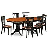 East West Furniture PLNI7-BCH-LC 7 Piece Table with 6 Solid Wood Chairs Set