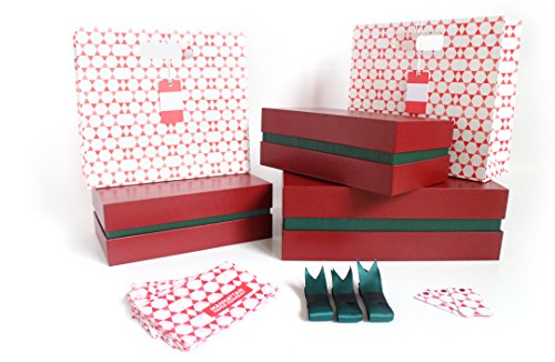 Fancy Red Canvas Gift Box Kit – 5 Pieces | 3 Boxes and 2 Gift Bags, Tissue Paper, & Cards | 1 Large & 2 Med Boxes & 2 Bags | Large: 12.5x10.5x3.75 in | Medium: 10.25x6x3.25 in (Denver Green)