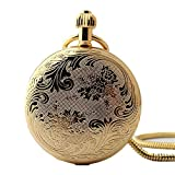 Zxcvlina Classic Smooth Exquisite Carving Golden Pocket Watch Boutique Unisex Retro Mechanical Pocket Watch with Chain Suitable for Gift Giving