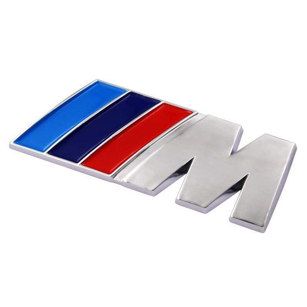 Silver BMW M Power Badge Tri Color Rear Emblem Car Decal Logo Sticker for All Models BMW 1 3 5 7 Series E30 E36 E46 E34 E39 E60 E65 E38 X1 X3 X5 X6 Z3 Z4