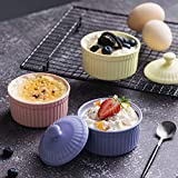 "Ceramic Covered Baking Bowl,3.5""Porcelain Ramekin"