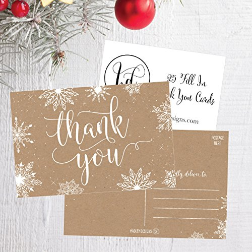 25 4x6 Blank Christmas Holiday Thank You Postcards Bulk, Cute Kraft Winter Snowflake Note Card Stationery For Wedding, Bridesmaids, Bridal or Baby Shower, Teachers, Religious, Business Cards Photo #3