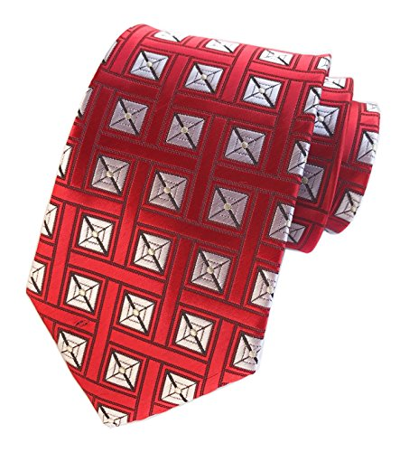 Bengal Stripe Striped Dress Shirt - Elfeves Men's Red White Jacquard Woven Silk Ties Fashion Business Suit Necktie