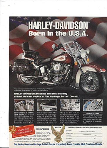 Franklin Mint Motorcycles (MAGAZINE AD For 1993 Franklin Mint Harley Davidson Heritage Softail Motorcycle)