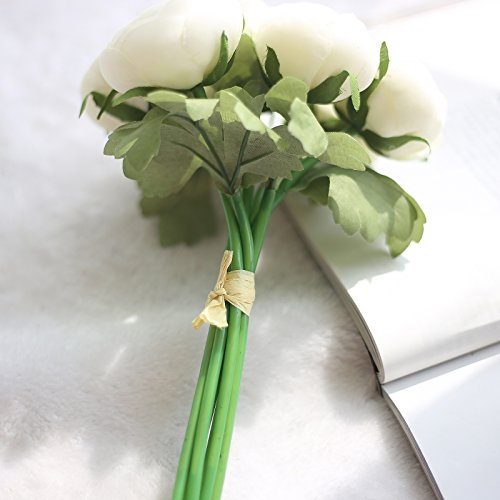 Anmas-Home-2-Bunches-Silk-Artificial-Ranunculus-Posy-Lu-Lotus-Bouquet-7-Head-with-Ribbon-For-Wedding-Home-Decoration-White