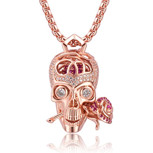 "Karseer Shiny Filigree Sugar Skull and Everlasting Rose Charm Pendant Necklace with Crystal Brain Hidden Floating Inside, 24"" Box Chain Matching Costume, Rose Gold Tone Jewelry Gift for Men and Women"