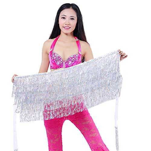 In Stock Belly Dance Costumes (MUNAFIE Women's Belly Dance Hip Scarf Sequin Tassel Hip Skirt Colorful Waist Chain Silver)