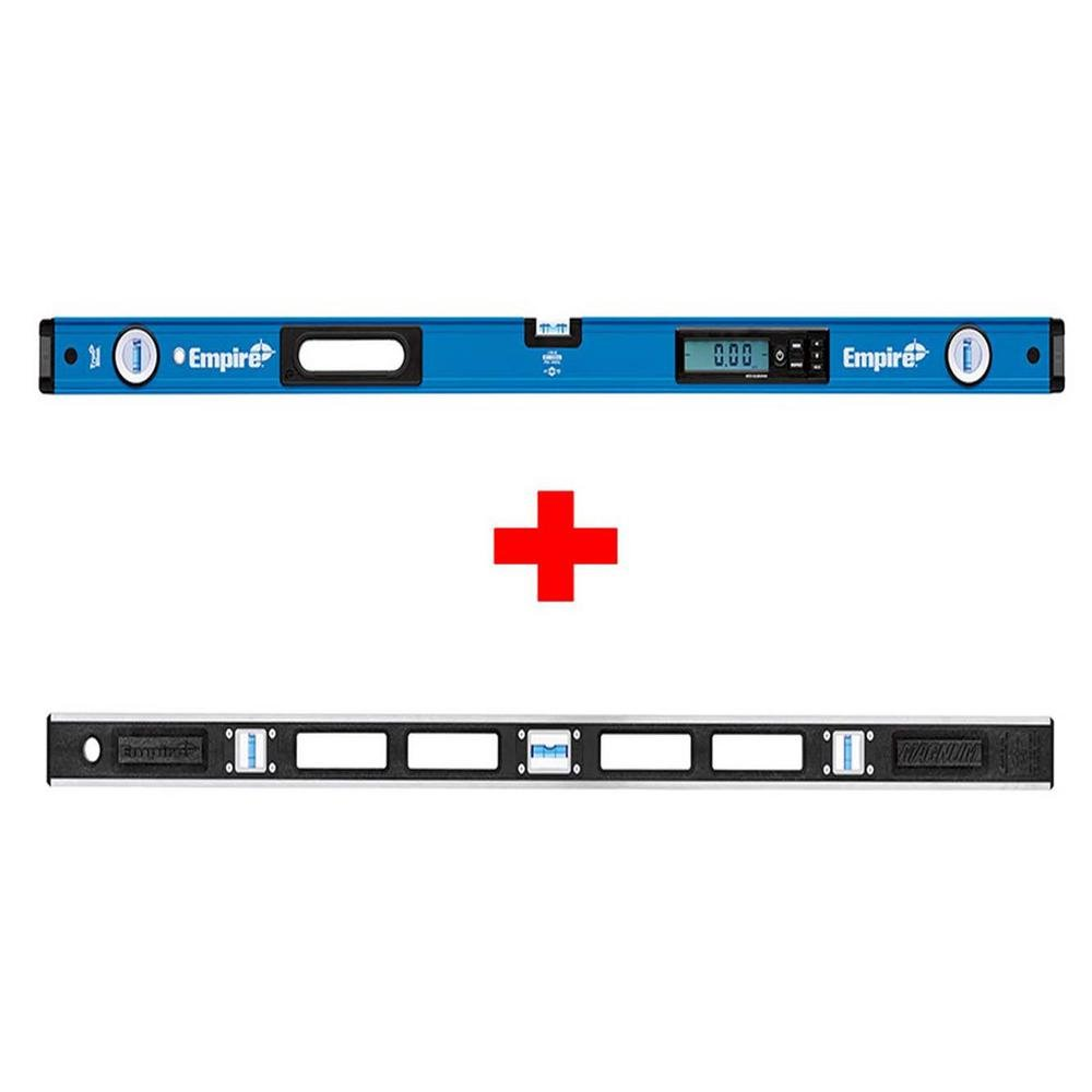 Empire 48 in. True Blue e105 Series Digital Level with Case with Free 48 in. Free True Blue 48 in. Magnum Level, Auto Calibrated-Digital Readout, 7 Measuring Modes with Free Storage Case