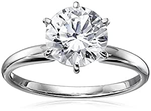 14k White Gold Round-Cut Solitaire Ring Made with Swarovski Zirconia (2 cttw), Size 5