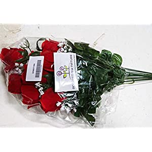 Admired By Nature GPB8377-RED 12 Stems Artificial Velvet Rose Buds, Red 2