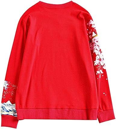 Hongma Sweat Shirt Femme Lettre Japonaise Fleur Sakura Manche Longue Col Rond