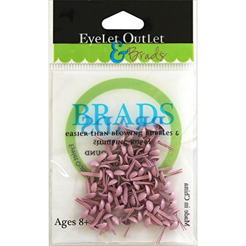 Eyelet Outlet Round Brads (70 Pack), 4mm, Pastel Pink ()