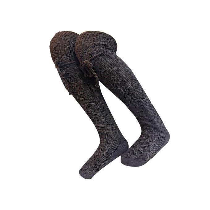 DOGZI Mujer tubo largo sobre calcetines hasta la rodilla Bota Otoño invierno Calentar Muslo Calcetines suaves Polainas calcetines de diamantes de punto ...
