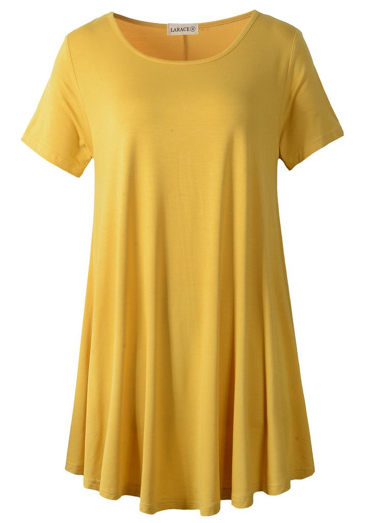LARACE Women Short Sleeves Flare Tunic Tops for Leggings Flowy Shirt (1X, Yellow)