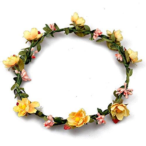 Floral Fall BOHO Headband Flower Crown Festival Wedding Beach Hair Wreath F-01 (Yellow)