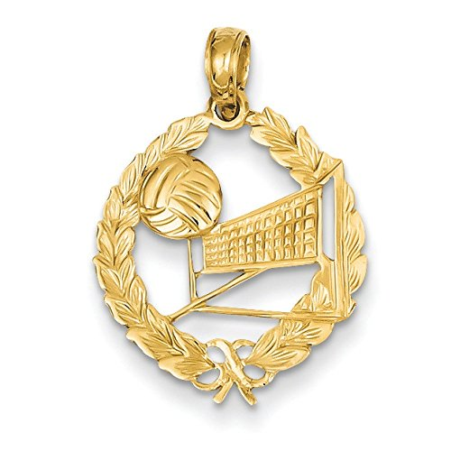Volleyball Story 14 Carats Pendentif Cercle en feuilles-Dimensions :  10,5 x 16.7 mm-JewelryWeb