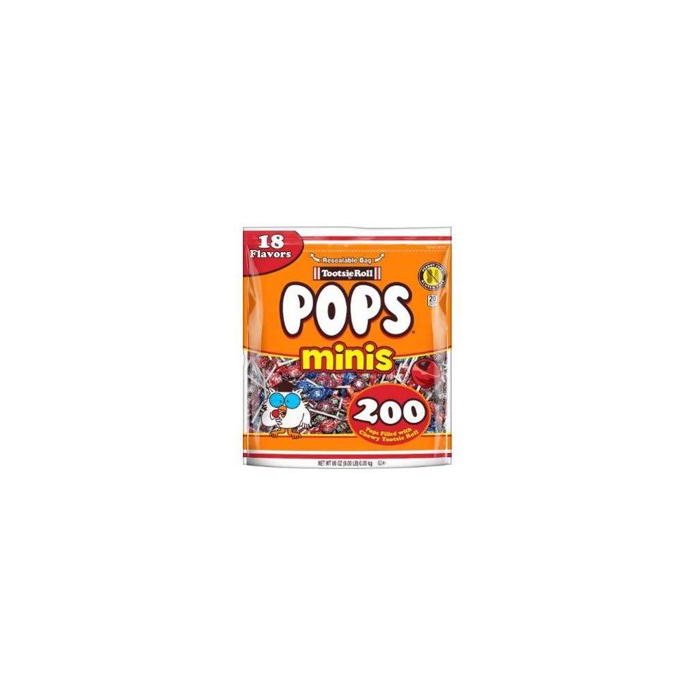 Tootise Roll Assorted Flavor Mini Pops - Bulk Bag of 200 Lollipops, 36 Ounce
