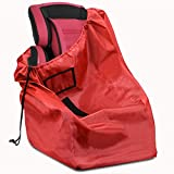 Car Seat Travel Bag, Ultra Durable Carseat Airplane Check Bag Adjustable Strap Must-Have Baby Travel Accessories for Airplanes, Trains, Red 210D