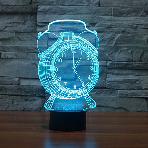 Comics+3D+Night+Lamp+ Products : 7 Colors Alarm Clock Table Desk Lamp 3D Acrylic Night Light Usb Touch Switch