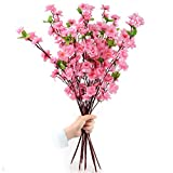 Artificial Spring Blossom Cherry Plum Bouquet Branch Silk Flower (Pink)
