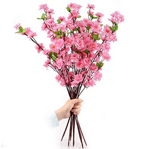 Plum Flower Branch (Artificial Spring Peach Blossom Cherry Plum Bouquet Branch Silk Flower)