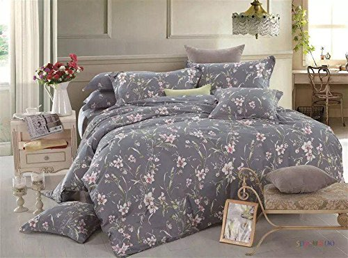 Tache Neutral Pink Grey Floral Duvet Cover - Cherry Blossom Dusk - Luxurious Cotton Gray Reversible Duvet Cover with Zipper and Security Ties/Ribbons - 3 Piece Set - Queen