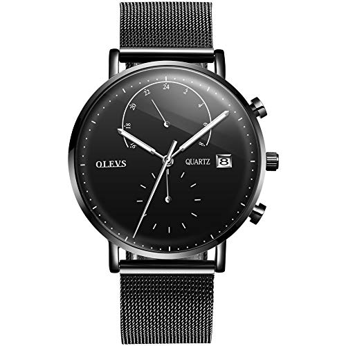 Watch Waterproof Men Creative Fashion Watches for Men Black/Silver Stainless Steel Milanese Loop Band Mesh Strap Black/White Face Dial Japan Movement Analog Quartz Watch Calendar Casual Slim Watches ()