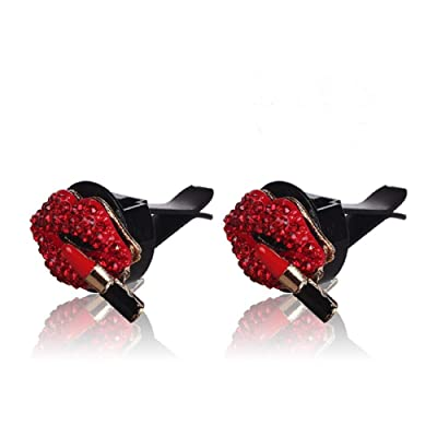 Car Air Vent Clip Charms 2 PCS Car Vent Diffuser Car Vent Decoration Car Aromatherapy Essential Oil Diffuser Vent Clip Women Fashion Charms Car Bling Accessories Gift for Mom, AMind (2PCS Red lip): Beauty