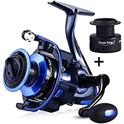 TROUTBOY ZM Fishing Reel Spinning Reels With Latest Unique Main Body Design - T6 Double Anodized Aluminum Spool,13+1 Double Shielded Stainless Steel Ball Bearings, Free Spare Graphite Spool (ZM-3000)