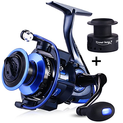 TROUTBOY ZM Fishing Reel Spinning Reels With Latest Unique Main Body Design - T6 Double Anodized Aluminum Spool,13+1 Double Shielded Stainless Steel Ball Bearings, Free Spare Graphite Spool (ZM-2000)