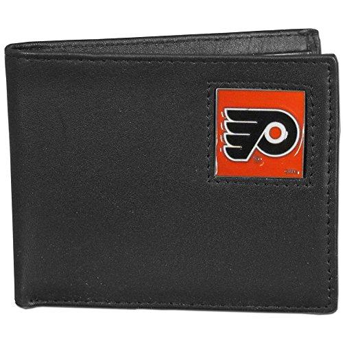 NHL Philadelphia Flyers Leather Bi-Fold Wallet Packaged in Gift Box, Black